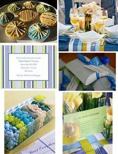 Green and Blue striped baby shower