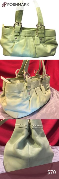 Coach lime green satchel handbag Coach lime green leather satchel Coach Bags Satchels