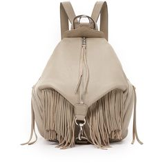Rebecca Minkoff Julian Fringe Backpack ($400) ❤ liked on Polyvore featuring bags, backpacks, sandstone, zip lock bags, leather backpack, brown backpack, leather fringe backpack and brown leather rucksack