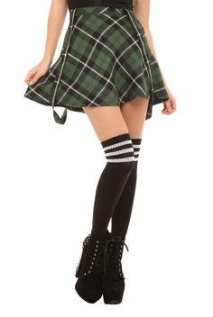 Royal Bones Green Plaid Suspenders Skirt | Hot Topic L maybe