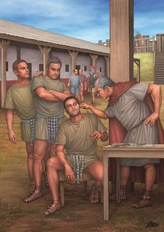 Roman soldiers being treated for an eye disease