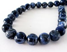 Sodalite Round Beads  Blue Genuine Stone  Semi by BijiBijoux