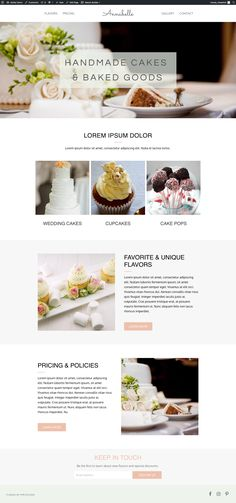 Our WordPress bakery template, Annabelle, is perfect for local bakeries that want more customers and more sales. With a quality website, you're telling potential customers they can expect a quality product and experience with your business. Website Layout, Web Layout, Layout Design, Bakery Website, Restaurant Website, Beautiful Website Design, Website Design Inspiration, Responsive Web Design, Ui Web