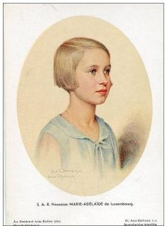 Marie Adelaide Louise Therese Wilhelmine of Luxembourg (1924-2007), daughter of Felix of Bourbon-Parma and his wife Charlotte of Luxembourg. She was married to Karl Henckel von Donnersmarck and they had 4 children.