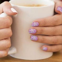 Loving Words Crossword Nail Design ~ #nailart #naildesign #fashion #pinknails #crossword #zazzle :)