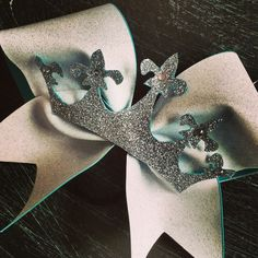 Glitter cheer bow with the glitter crown and rhinestones by BragAboutItCheerBows on Etsy