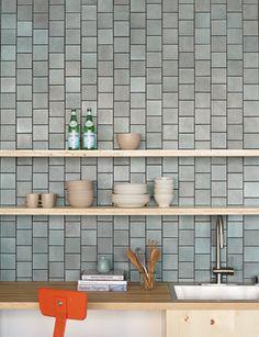 Layered Glaze - Heath Ceramics Fireplace facing and hearth? Kitchen Redo, Kitchen Backsplash, Kitchen Remodel, Kitchen Design, Backsplash Ideas, Heath Tile, Fireplace Facing, Heath Ceramics, Ceramics Tile
