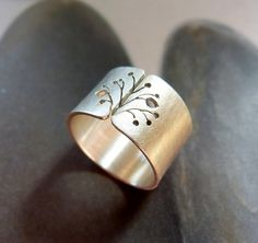 Dandelion silver ring rustic Sterling silver ring wide by Mirma