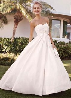 Strapless Shantung Taffeta Sweetheart Ball Gown - David's Bridal- *(ivory available only online, but have white in store. *also: its available w/o train)