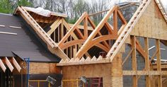 Liked on Pinterest: Timber Truss Installation