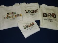 Names of family members on shirts...