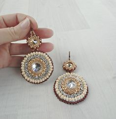 Long big  copper gold statement fashion beadwork-embroidery  earrings. $75 #statementearrings #embroidery