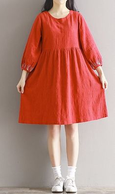 Women loose fit plus over size pocket dress flower embroidered sleeve tunic chic #unbranded #dress #Casual