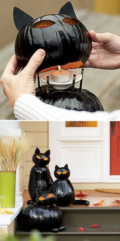 Boo-tiful Porch Halloween Ideas and Patio Inspiration Make your entry glow with fat cat Halloween idea made from stacked pumpkins (and mini-pumpkin paws) – Meow! More Boo-tiful Porch Halloween Ideas and Patio Inspiration on Frugal Coupon Living. Spooky Halloween, Porche Halloween, Halloween Veranda, Theme Halloween, Halloween Projects, Diy Halloween Decorations, Holidays Halloween, Halloween Costumes, Disney Halloween