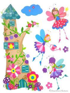 Princess Wall Decal Kids Baby Pink Room Decor Fairies Castle Art Mural  Sticker: Amazon.