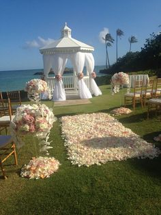 Beautiful view and rose petal aisle for this Hawaii wedding