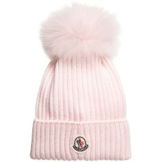 Moncler - Pink Wool Hat with Fur Pom-Pom | Childrensalon