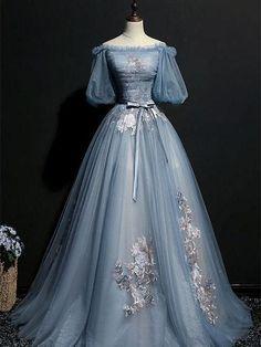 A-line Straight Neck Half Sleeve Floor Length Prom Dresses ASD27179