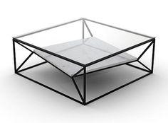Arvo Coffee Table White-Metal shelf (same colour as frame) by Niche London