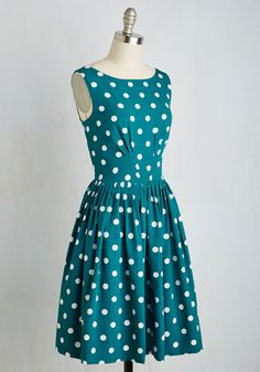 Emily and Fin Daytrip Darling Dress in Teal Dots | Mod Retro Vintage Dresses | ModCloth.com