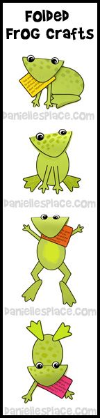 Folded Paper Frog Crafts Kids Can Make from www.daniellesplace.com