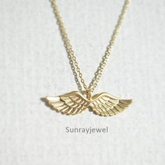 Angel wing necklace, Angel neckalce #Charm
