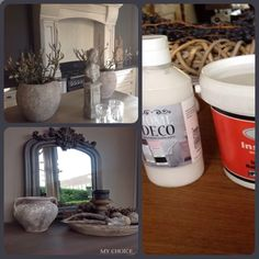 Vergrijzen met muurvuller en decoratieverf Action. Pak uit de schuur wat je nog hebt staan: dat kan muurvuller zijn (Action heeft instant muurvuller) maar ook een rest tegellijm (die moet je meestal nog aanmaken met water, maak er een papje van). Bekleedt er je oude vaas, lampenvoet of schaal mee. Dat kan ook op hout of zelfs op riet! 'Boetseer' er als het ware omheen. Laat dat goed drogen. Je kunt het lekker grof laten of met water gladder strijken, naar behoefte. Of je kunt er patroontjes…