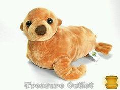 The Petting zoo Stuffed Plush Beanie Brown Sea Lion Seal 11in