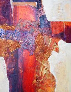 "Mixed Media Artists International: ""Incandescent Canyon""Original Abstract Mixed Media Painting by California Contemporary Mixed Media Artist Barbara Van Rooyan"