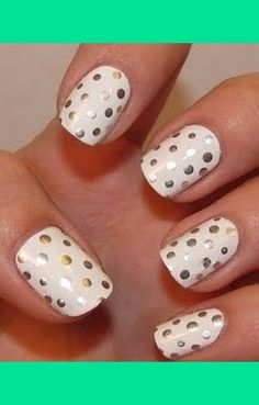 White Nail Polish with Silver Sharpie Polka Dots