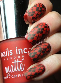 Nails Inc Matte - Gatwick with Stamping | Eeeek Nail Polish
