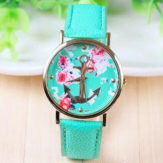 Turquoise Rose/Anchor Face Geneva Ladies Quartz Watch