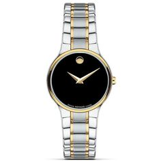 """Movado """"Serio™"""" Two-Tone Stainless Steel Watch, 26mm ($971) ❤ liked on Polyvore featuring jewelry, watches, accessories, two tone jewelry, movado, black jewelry, two-tone watches and black watches"""