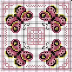 Pink Butterfly Biscornu