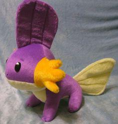 Pokemon inspired shiny Mudkip Hoenn starter 30 cm long plushie made of minky, super cuddly!