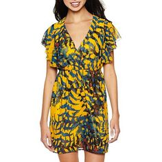 mac + jac Wrap Chiffon Dress - jcpenney