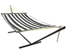Black And White Quilted Double Fabric Hammock With Stand Combo Outdoor New