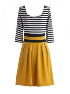 Color Block Striped Colorful Round Neck Skater Dress
