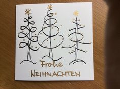 A very simple Christmas card to make! - Style and More - All kinds of trendy ideas Hand Christmas Tree, Simple Christmas, Christmas Art, Homemade Christmas Cards, Homemade Cards, Hand Drawn Cards, Hand Lettering Alphabet, Beautiful Christmas Cards, Watercolor Cards