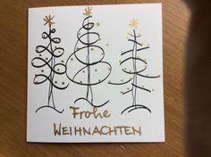 Eine ganz einfach herzustellende Weihnachtskarte! Christmas Tag, Hand Christmas Tree, Xmas Tree, Christmas Decorations, Beautiful Christmas Cards, Christmas Crafts, Watercolor Christmas Cards, Holiday Cards, Xmas Cards
