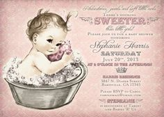 Vintage Baby Shower Invitation For Girl - Baby Bath - Pink - DIY Printable on Etsy, $20.00