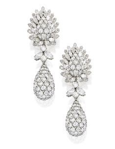 PAIR OF PLATINUM AND DIAMOND PENDANT-EARCLIPS, DAVID WEBB