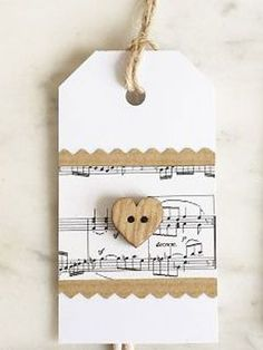 Make a layered paper gift tag with heart button