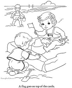 Beach Coloring Pages for Kids Luxury Beach Printables Beach Coloring Pages, Coloring Book Pages, Printable Coloring Pages, Coloring Pages For Kids, Coloring Sheets, Sue Sunbonnet, Vintage Coloring Books, Digi Stamps, Drawing For Kids