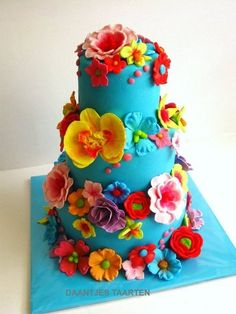 bright coloured flowers cake