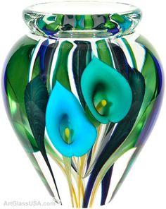 Calla lily vase - Tri-color blue