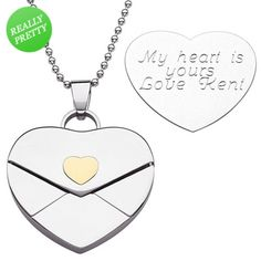 "Love this, and all it really needs to say is ""Love G"" ;-) Engraved Heart Envelope Pendant in Stainless Steel (3 Lines)"