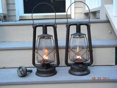 1923 Hi Lo and 1926 Monarch, both made by Dietz. Light In The Dark, Light Up, Old Lanterns, Mason Jar Lamp, Candle Sconces, Wall Lights, Table Lamp, Candles, Life