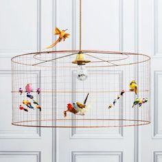 Medium Bird Cage Chandelier - Bird Cage Lamps - Lighting Without the birds! Chandeliers, Chandelier Ceiling Lights, Ceiling Lamp, Birdcage Light, Birdcage Chandelier, Mirror With Lights, Scandinavian Home, Spring Home, Bird Cage