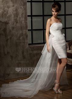 Sheath/Column Sweetheart Asymmetrical Detachable Organza Wedding Dress With Ruffle Flower(s) (002011463) - JJsHouse